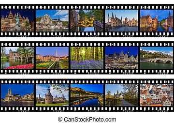 (my, viaje, photos), -, marcos, bélgica, imágenes, película
