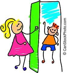 little girl opening the door to a friend - toddler art series