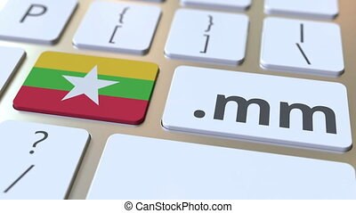 Myanma domain .mm and flag of Myanmar on the buttons on the ...