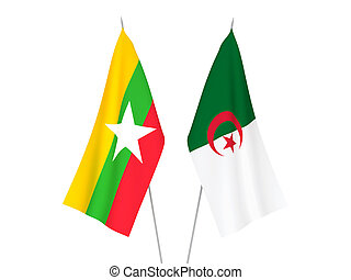 Myanmar and Algeria flags - National fabric flags of Myanmar...
