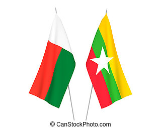 Myanmar and Madagascar flags - National fabric flags of ...