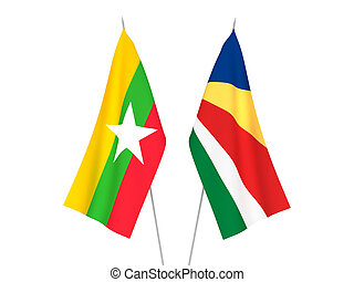 Myanmar and Seychelles flags - National fabric flags of ...