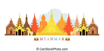Myanmar Architecture Landmarks Skyline - Cityscape, Travel...