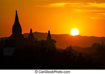 myanmar, bagan, a, tramonto