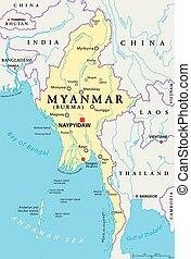 Myanmar Burma Political Map - Myanmar political map with...