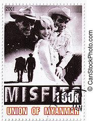 MYANMAR - CIRCA 2001 : stamp printed in Myanmar with Marilyn...