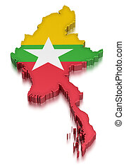 Myanmar (clipping path included) - Map of Myanmar. 3d render...
