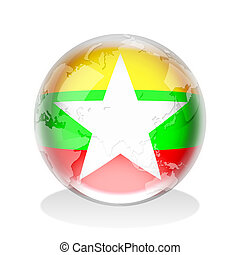 Crystal sphere of Myanmar flag with world map