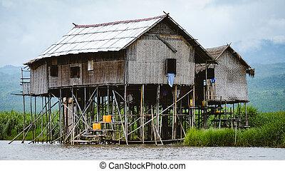 Myanmar, de madera, tradicional, Casas, lago,  Inle, paisaje, vista