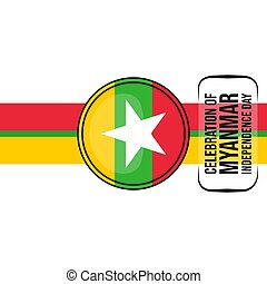 Myanmar Emblem Flag vector illustration. Template for Myanmar Independence day or national Day design.