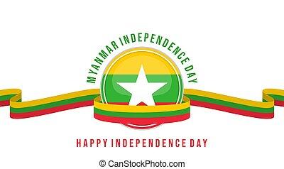 Myanmar Emblem Flag with Myanmar flag ribbon vector illustration. Template for Myanmar Independence day or national Day design.