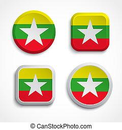 Myanmar flag buttons