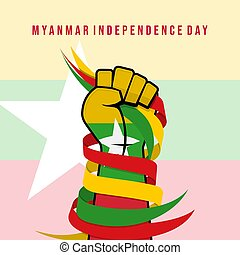 Myanmar flag colored hand holding a ribbon. Good Template for Myanmar Independence day or national Day design.