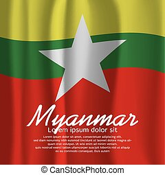 Myanmar Flag Curtain.
