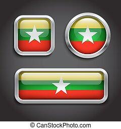 Myanmar flag glass buttons