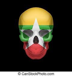Myanmar flag skull
