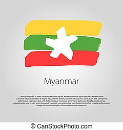 Myanmar Flag with colored hand drawn lines in Vector Format