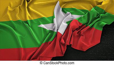 Myanmar Flag Wrinkled On Dark Background 3D Render