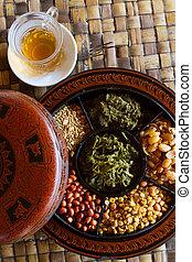 Myanmar food - A selection of typical Myanmar snacks: tasty...
