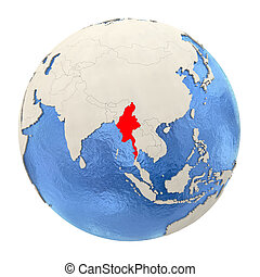 Myanmar in red on full globe isolated on white - Map of...