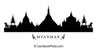 Myanmar Landmarks Skyline in Black and White Silhouette -...