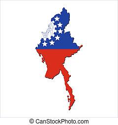 Myanmar map flag - map of Myanmar and their flag...