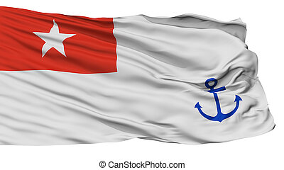 Myanmar Naval Ensign Flag, Isolated On White