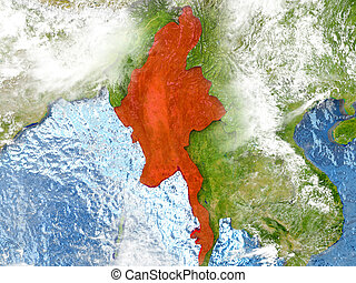 Myanmar on map with clouds
