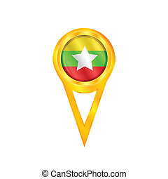 Myanmar pin flag - Gold pin with the national flag of...