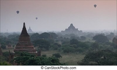 myanmar - Time lapse of scenic sunrise old pagoda with...