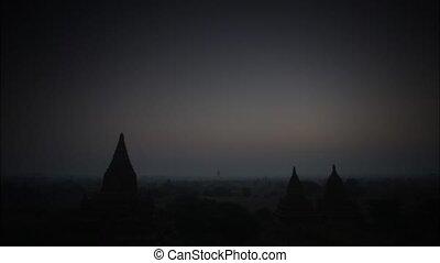 Time lapse twilight at sunset morning in Bagan Myanmar