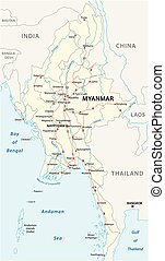 Myanmar vector road map with important cities