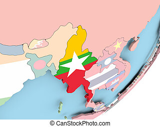 Myanmar with flag