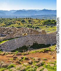 Day landscape scene at ancient mycenae city, peloponnese, greece