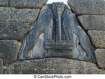 The Lion Gate in Mycenae (detal), Greece. The Lion Gate was the main entrance of the Bronze Age citadel of Mycenae