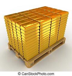 mycket, av, guld barrikaderar, på, den, pallet.