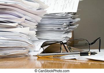 mycket, av, skrivbordsarbete