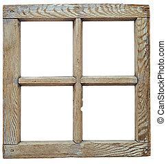 mycket, gammal, grunged, trä, fönstret inramar, isolerat,...