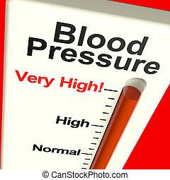 mycket, höjdpunkt blod påtryckning, visande, hypertoni, och,...