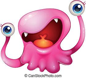 mycket, rosa, spänd, monster