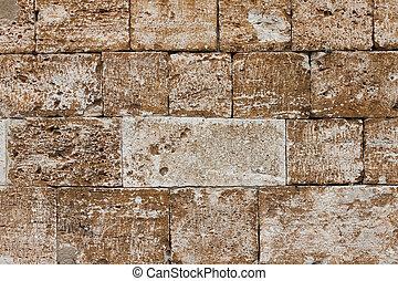 mycket, vägg, tegelsten, gammal, struktur