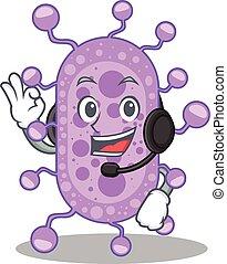 mycobacterium, deslumbrante, personagem, desgastar, mascote, conceito, fone