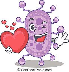 mycobacterium, personagem, coração, doce, caricatura, estilo