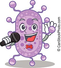 mycobacterium, personagem, microfone, caricatura, talentoso, cantor, segurando