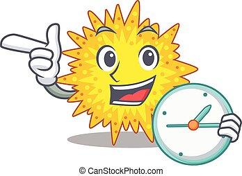 mycoplasma, relógio, conceito, mascote, sorrindo, desenho