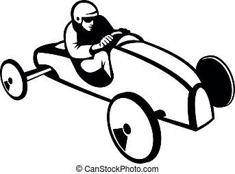 mydło, albo, retro, biegi wóz, biały, soapbox, czarnoskóry, boks, biegacz, derby