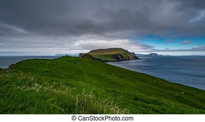 Mykines and Faroe Islands time lapse, wide angle - Wide...