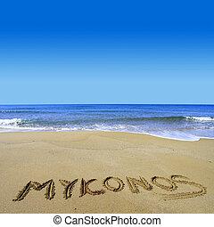 mykonos, écrit, sur, plage sablonneuse