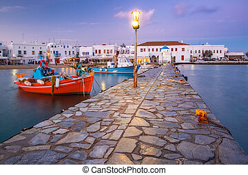 mykonos, 古い, 日没, 港, ギリシャ