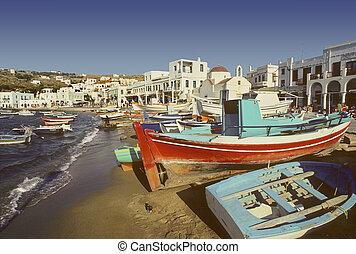 Mykonos beach and harbor, Greece